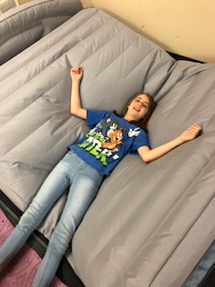 Nikki relaxes on air mattress