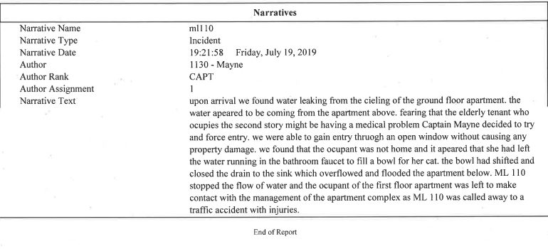 Fire Dept Report